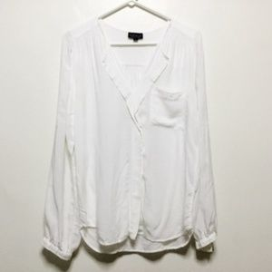 Topshop White Long Sleeved Blouse